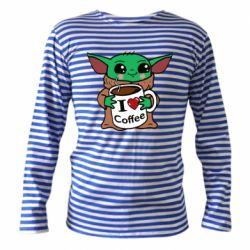 Тельняшка с длинным рукавом Yoda and a mug with the inscription I love coffee