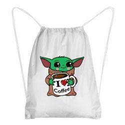 Рюкзак-мешок Yoda and a mug with the inscription I love coffee