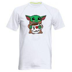 Мужская спортивная футболка Yoda and a mug with the inscription I love coffee