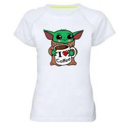 Женская спортивная футболка Yoda and a mug with the inscription I love coffee