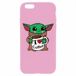 Чехол для iPhone 6 Plus/6S Plus Yoda and a mug with the inscription I love coffee