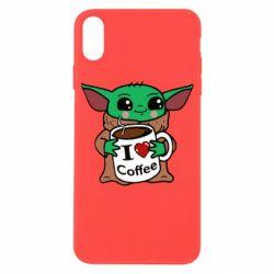 Чехол для iPhone X/Xs Yoda and a mug with the inscription I love coffee