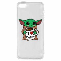 Чехол для iPhone5/5S/SE Yoda and a mug with the inscription I love coffee