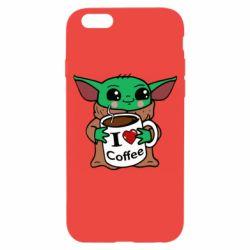 Чехол для iPhone 6/6S Yoda and a mug with the inscription I love coffee