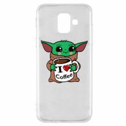 Чехол для Samsung A6 2018 Yoda and a mug with the inscription I love coffee