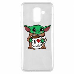 Чехол для Samsung A6+ 2018 Yoda and a mug with the inscription I love coffee