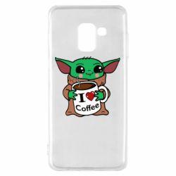 Чехол для Samsung A8 2018 Yoda and a mug with the inscription I love coffee