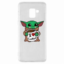 Чехол для Samsung A8+ 2018 Yoda and a mug with the inscription I love coffee