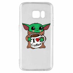 Чехол для Samsung S7 Yoda and a mug with the inscription I love coffee