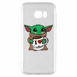 Чехол для Samsung S7 EDGE Yoda and a mug with the inscription I love coffee
