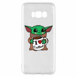 Чехол для Samsung S8 Yoda and a mug with the inscription I love coffee