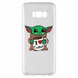 Чехол для Samsung S8+ Yoda and a mug with the inscription I love coffee