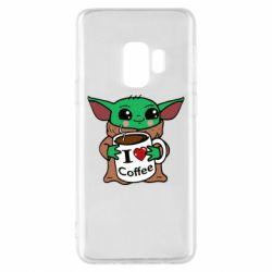 Чехол для Samsung S9 Yoda and a mug with the inscription I love coffee