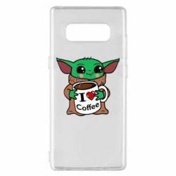 Чехол для Samsung Note 8 Yoda and a mug with the inscription I love coffee