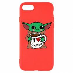 Чехол для iPhone 8 Yoda and a mug with the inscription I love coffee