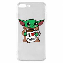 Чехол для iPhone 8 Plus Yoda and a mug with the inscription I love coffee