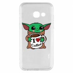 Чехол для Samsung A3 2017 Yoda and a mug with the inscription I love coffee