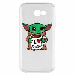 Чехол для Samsung A7 2017 Yoda and a mug with the inscription I love coffee