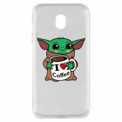 Чехол для Samsung J3 2017 Yoda and a mug with the inscription I love coffee