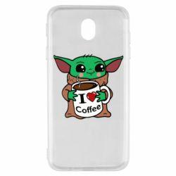 Чехол для Samsung J7 2017 Yoda and a mug with the inscription I love coffee