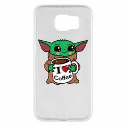 Чехол для Samsung S6 Yoda and a mug with the inscription I love coffee