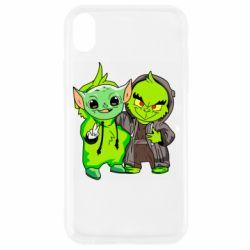 Чехол для iPhone XR Yoda and Grinch