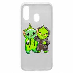 Чехол для Samsung A40 Yoda and Grinch