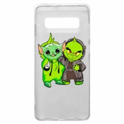 Чехол для Samsung S10+ Yoda and Grinch