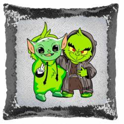 Подушка-хамелеон Yoda and Grinch