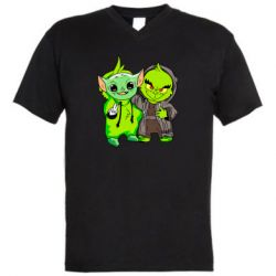Мужская футболка  с V-образным вырезом Yoda and Grinch