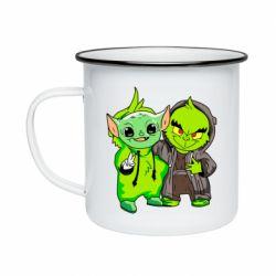 Кружка эмалированная Yoda and Grinch
