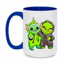 Кружка двухцветная 420ml Yoda and Grinch