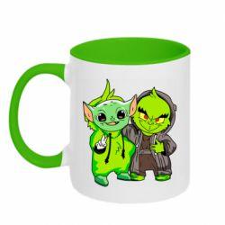 Кружка двухцветная 320ml Yoda and Grinch