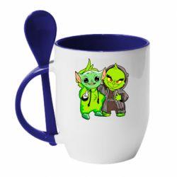 Кружка с керамической ложкой Yoda and Grinch