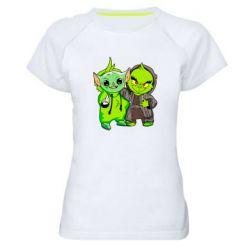 Женская спортивная футболка Yoda and Grinch