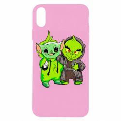 Чехол для iPhone X/Xs Yoda and Grinch