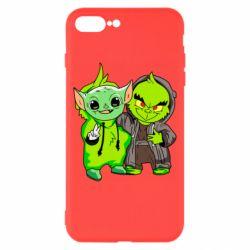 Чехол для iPhone 8 Plus Yoda and Grinch