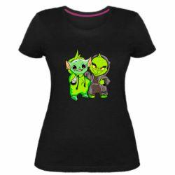 Женская стрейчевая футболка Yoda and Grinch
