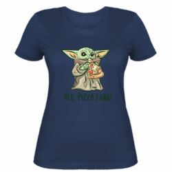 Женская футболка Yoda and pizza