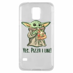 Чехол для Samsung S5 Yoda and pizza