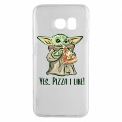 Чехол для Samsung S6 EDGE Yoda and pizza