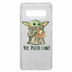 Чехол для Samsung S10+ Yoda and pizza