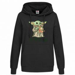 Женская толстовка Yoda and pizza