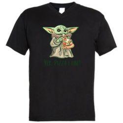 Мужская футболка  с V-образным вырезом Yoda and pizza
