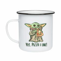 Кружка эмалированная Yoda and pizza