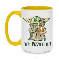 Кружка двухцветная 420ml Yoda and pizza