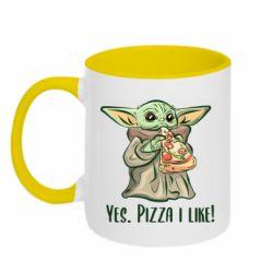 Кружка двухцветная 320ml Yoda and pizza