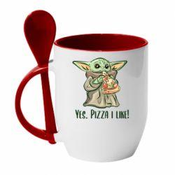 Кружка с керамической ложкой Yoda and pizza