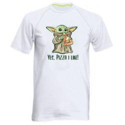 Мужская спортивная футболка Yoda and pizza