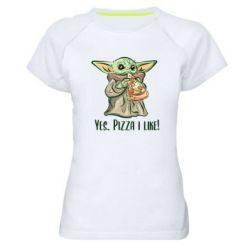 Женская спортивная футболка Yoda and pizza